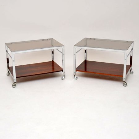 1960's Pair of Rosewood & Chrome Side Tables