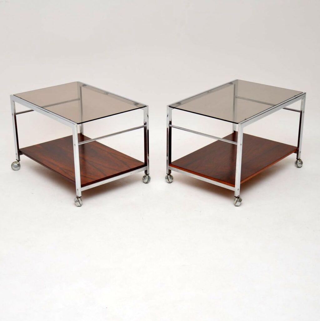 pair vintage retro rosewood chrome side tables merrow associates