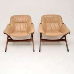 pair of retro vintage swedish leather armchairs