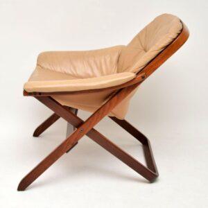 pair of retro vintage swedish leather armchairs