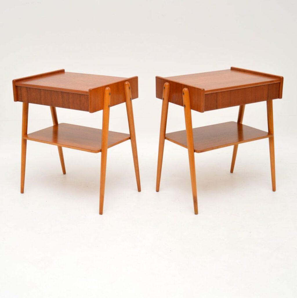 pair of retro vintage swedish teak bedside tables ab carlstrom