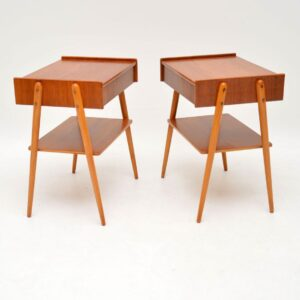 1960's Pair of Swedish Vintage Bedside Tables by AB Carlstrom
