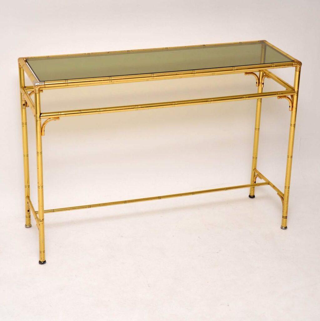 retro vintage brass console table
