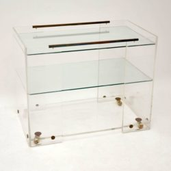 1970's Vintage Glass & Acrylic Drinks Trolley / Side Table