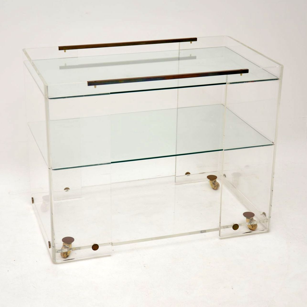 vintage retro glass brass drinks trolley side table