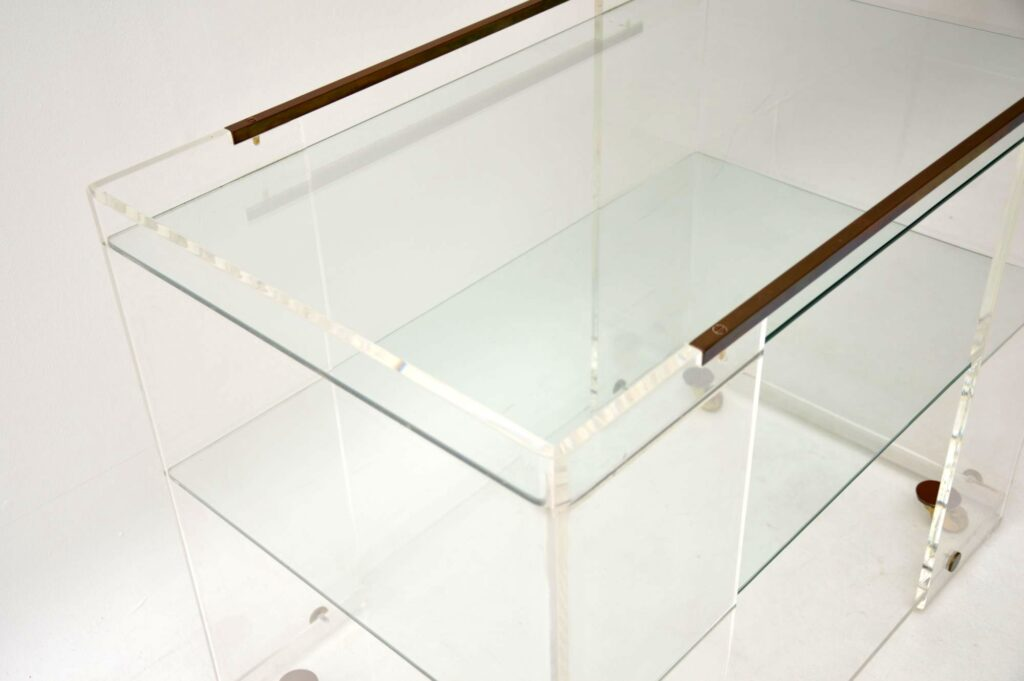 vintage retro glass brass drinks trolley side table