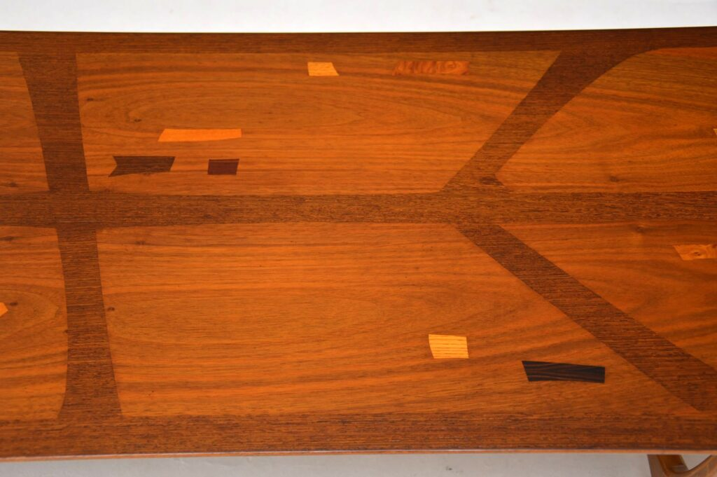 vintage retro inlaid rosewood long tom coffee table heal's everest