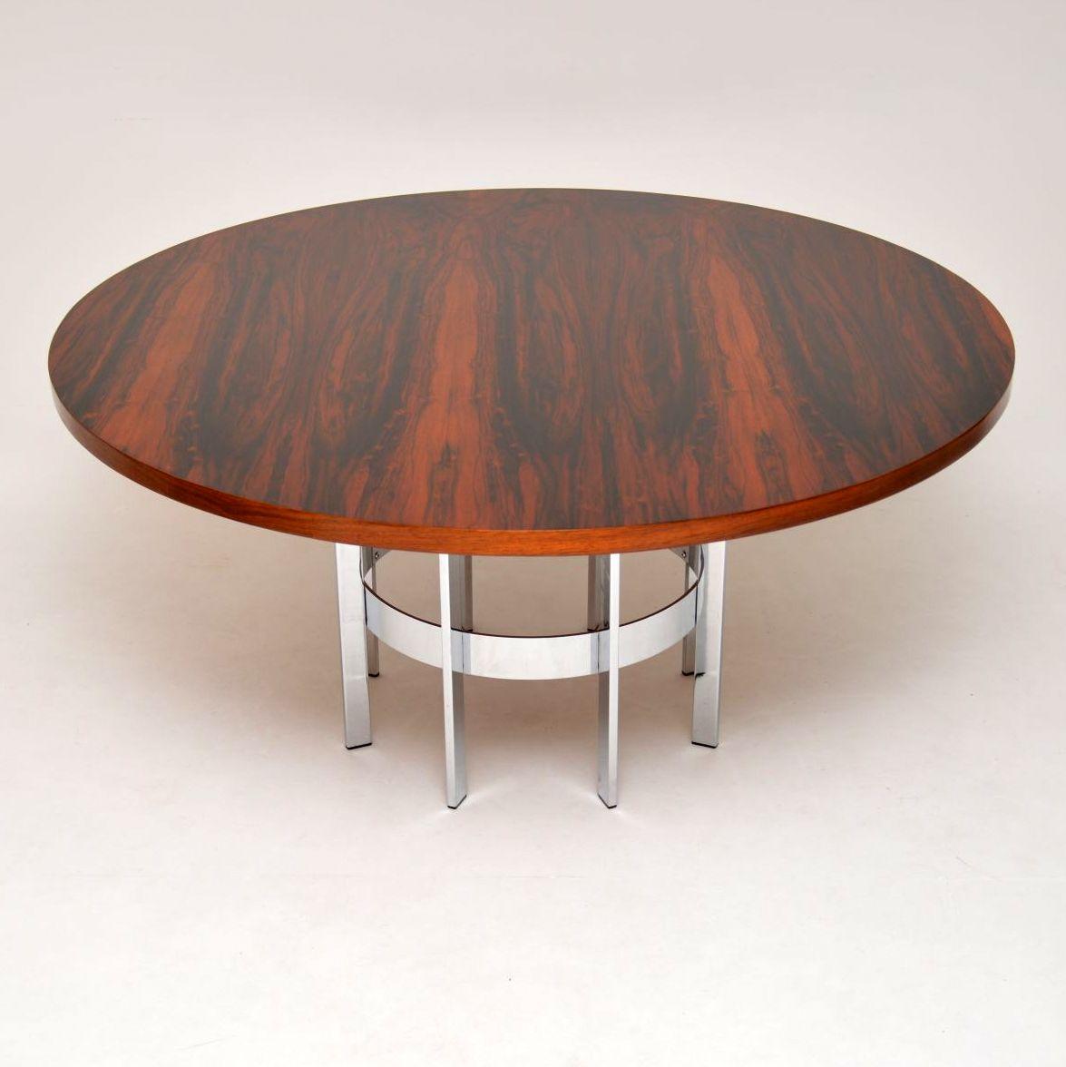 Retrospective Interiors & 1960\u0027s Vintage Rosewood \u0026 Chrome Dining Table by Merrow Associates