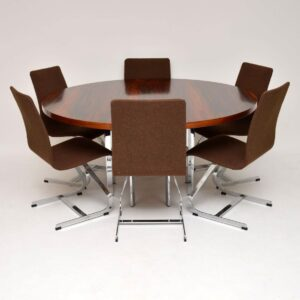1960's Set of Vintage Chrome Dining Chairs by Merrow Associates