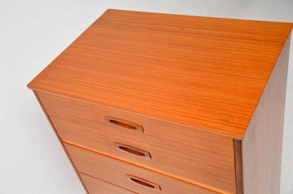 retro vintage teak rosewood tallboy chest of drawers