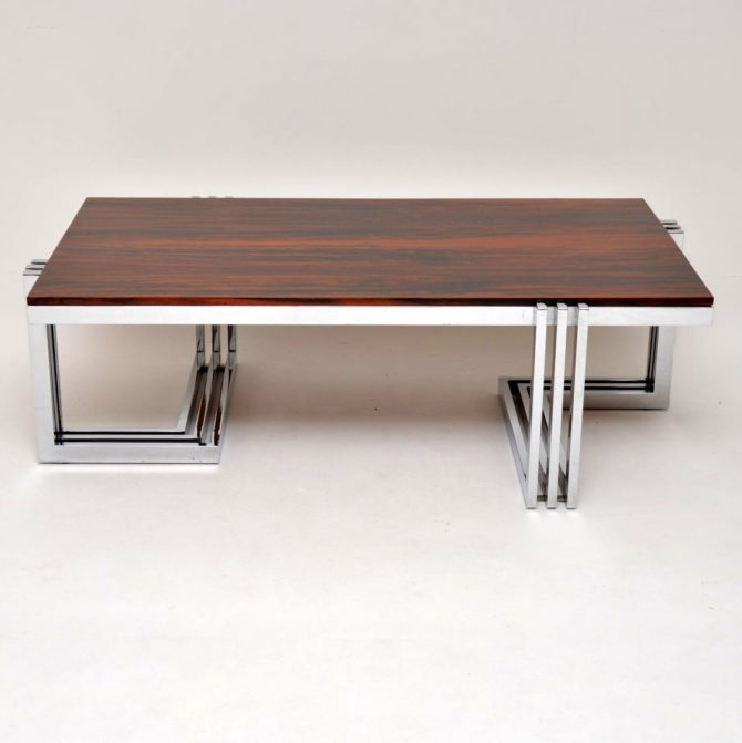 rosewod chrome vintage retro coffee table