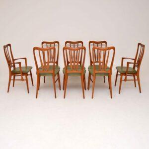 set of eight danish teak retro vintage dining chairs niels koefoed
