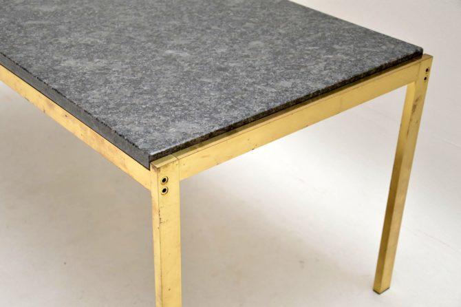 antique vintage retro brass granite marble coffee table