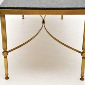 antique vintage retro brass granite marble coffee table