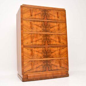 art deco burr walnut antique chest of drawers