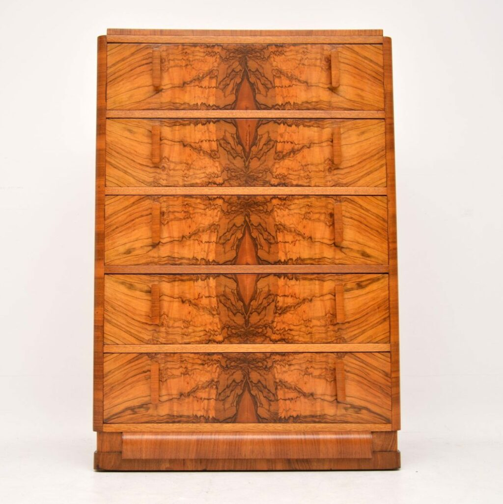art deco burr walnut antique chest of drawers