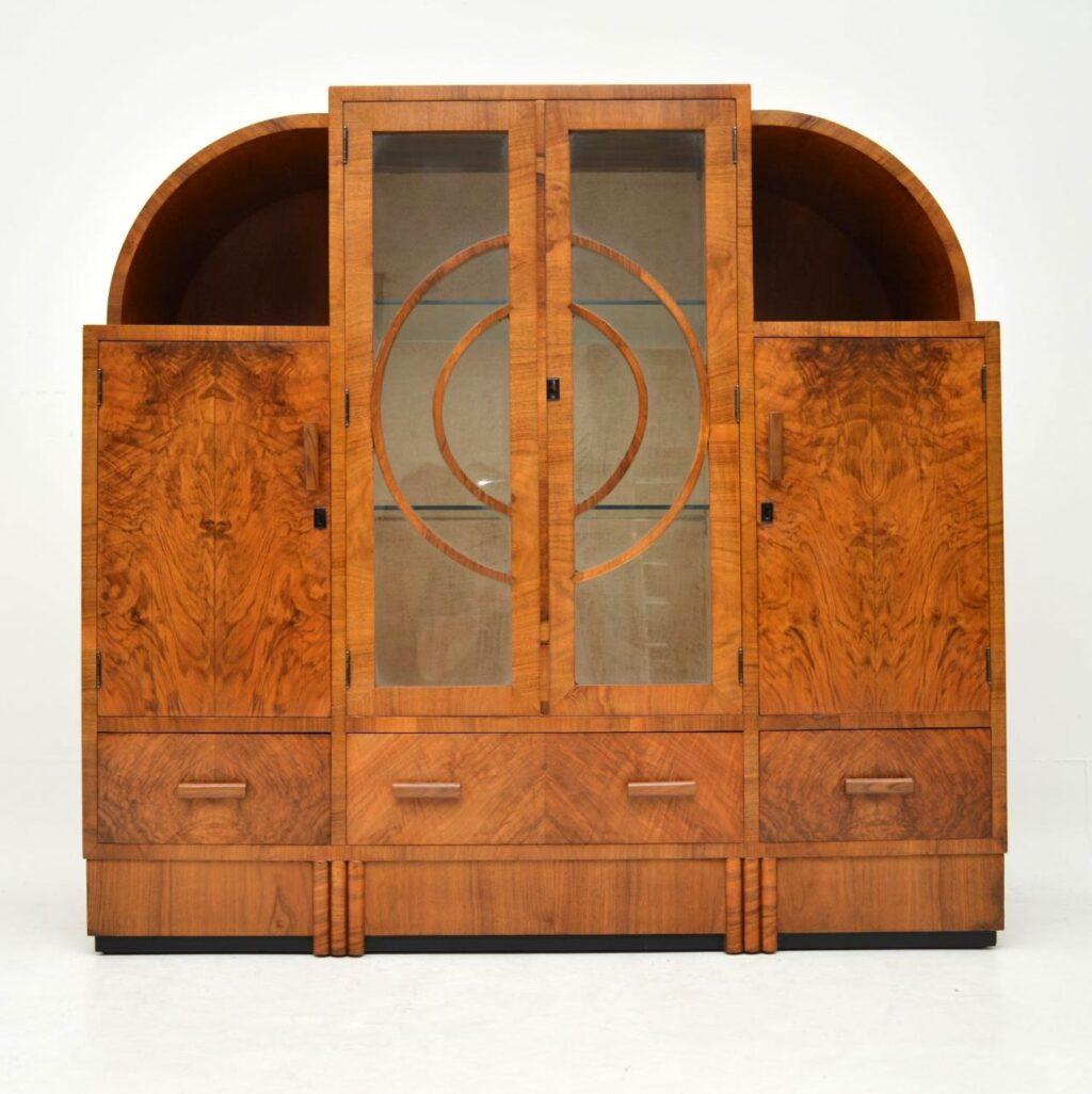 art deco burr walnut display cabinet bookcase