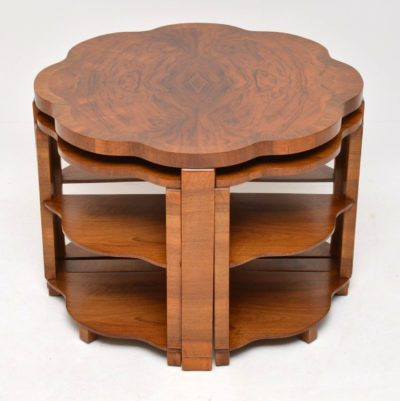 art deco walnut nesting vintage coffee table