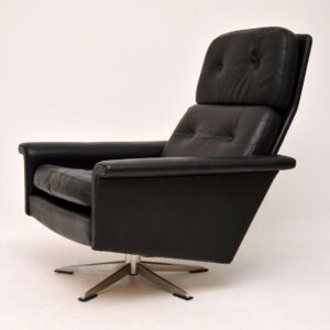 danish retro vintage leather swivel armchair johannes andersen