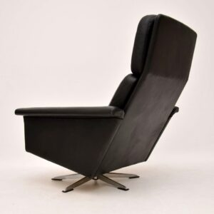 1960's Danish Vintage Leather Swivel Armchair by Johannes Andersen