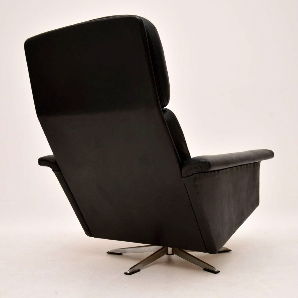 danish retro vintage leather swivel armchair johannes andersen