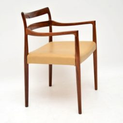 danish retro vintage rosewood leather carver chair armchair soren willasden