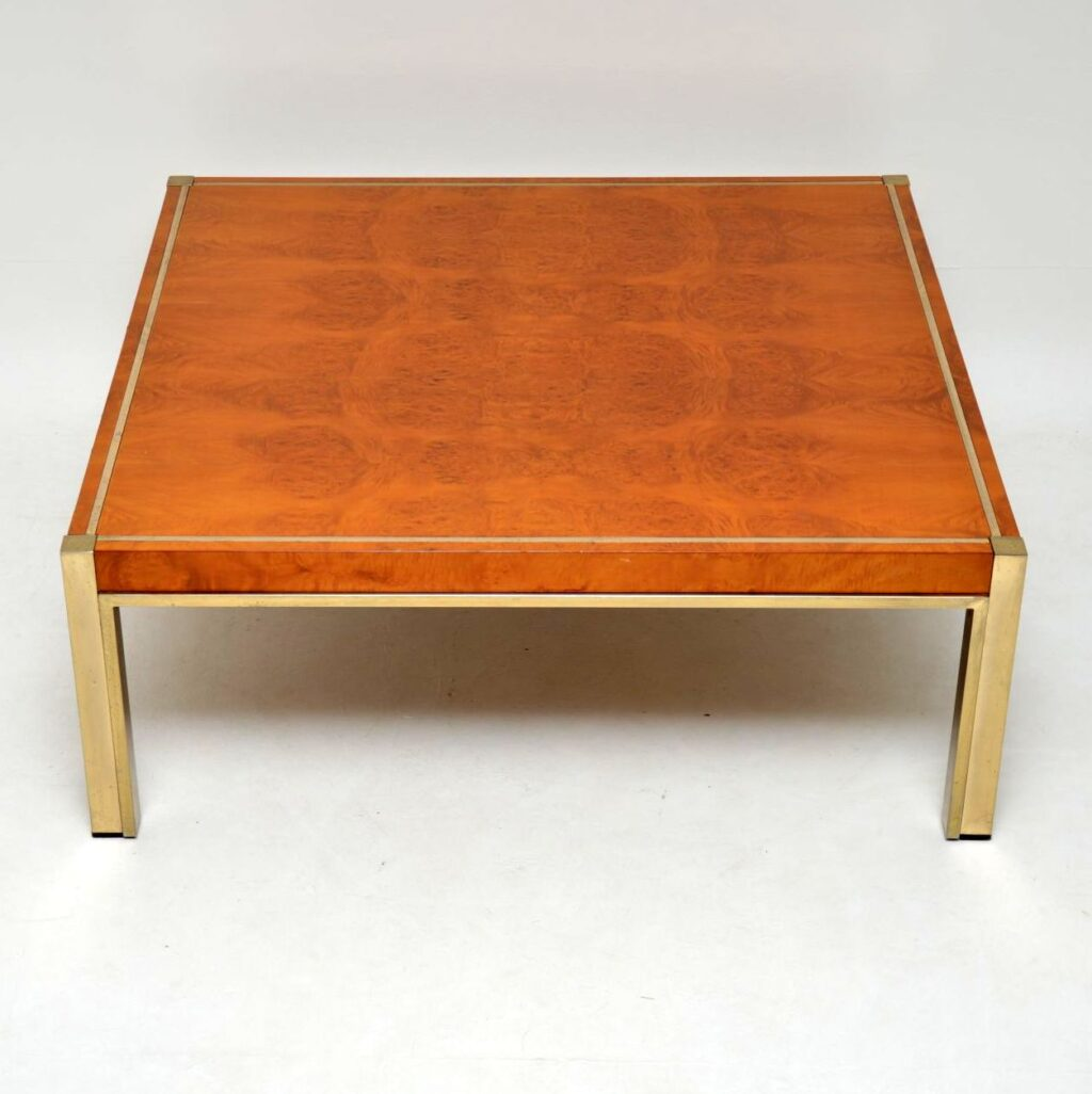 retro vintage italian walnut brass coffee table zevi