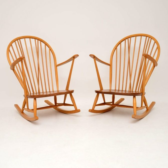 pair of retro vintage elm ercol rocking chairs armchairs