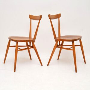 pair of retro vintage ercol dining side chairs