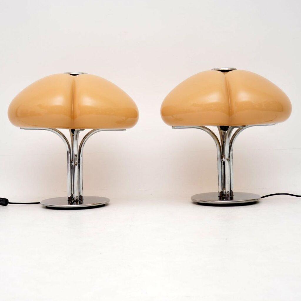 pair of retro vintage italian lamps by harvey guzzini