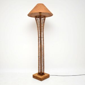retro vintage bamboo suede leather floor standard lamp