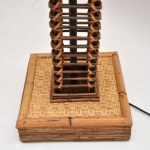 retro vintage bamboo suede leather floor standard lamp
