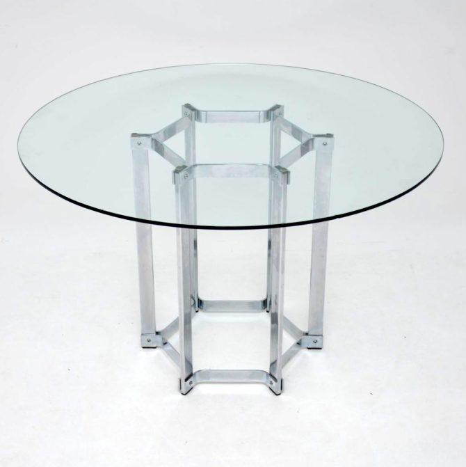retro vintage merrow associates chrome glass dining table