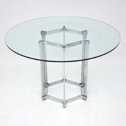 retro vintage merrow associates chrome glass dining table