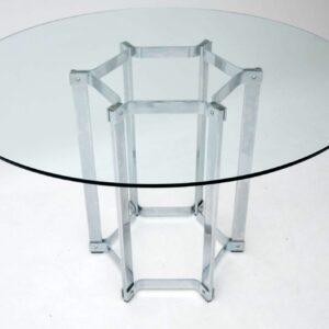 1970's Chrome & Glass Vintage Dining Table by Merrow Associates