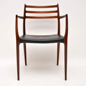 danish rosewood leather dining chairs by niels moller model 78 retro vintage