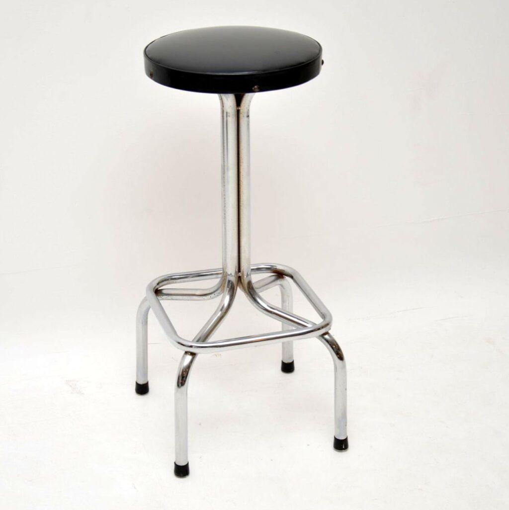 set of four retro vintage chrome leather bar stools