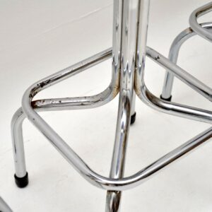 set of four retro vintage chrome leather bar stools