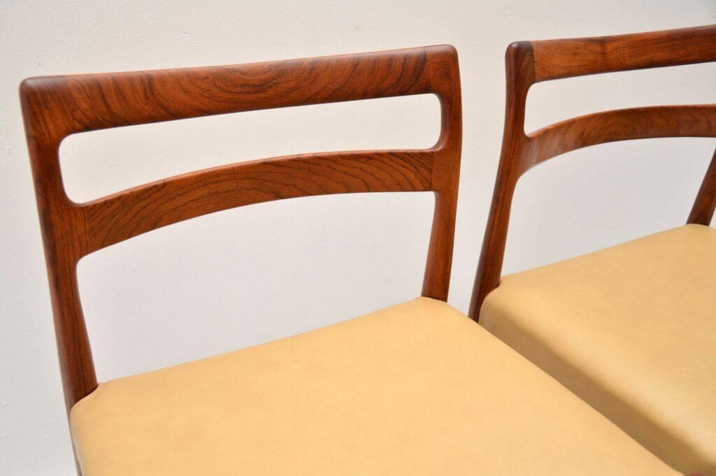 set of six danish rosewood leather dining chairs soren willasden