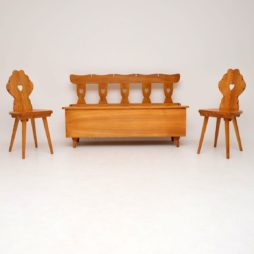 antique vintage retro elm pair of hall chairs and bench