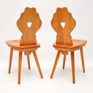 1950's Vintage Solid Elm Pair of Side Chairs & Bench