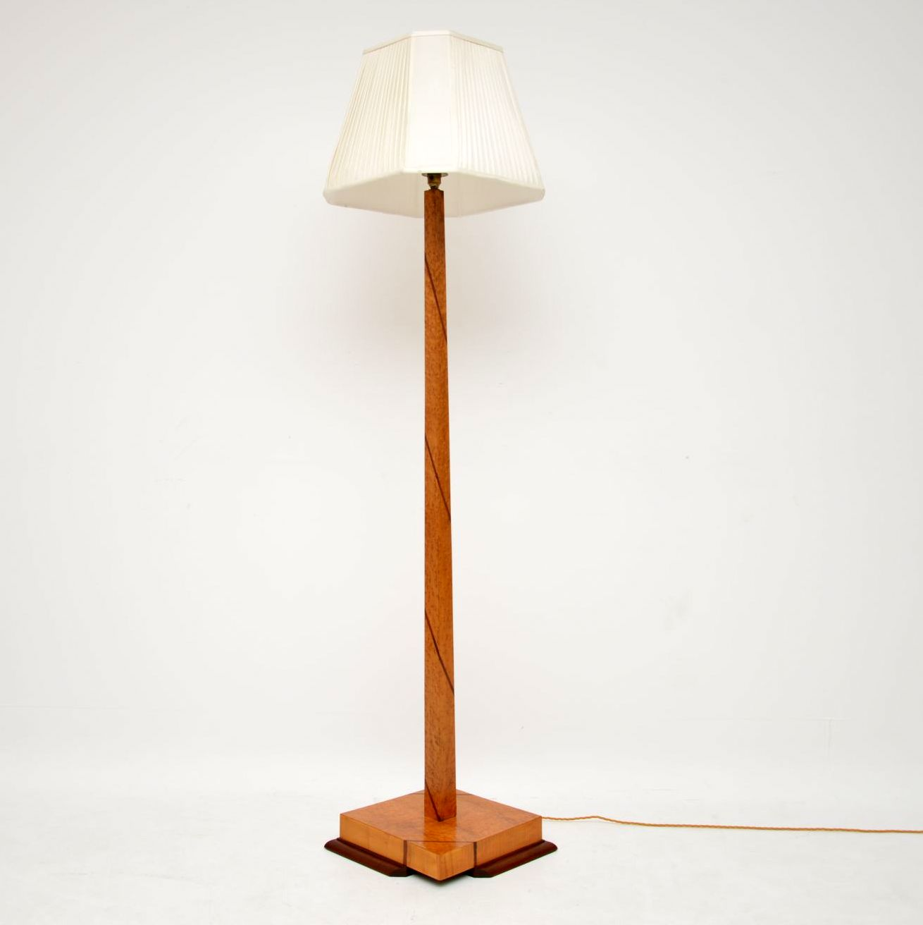 art deco birds eye maple and walnut lamp