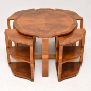 art deco figured walnut nesting coffee table