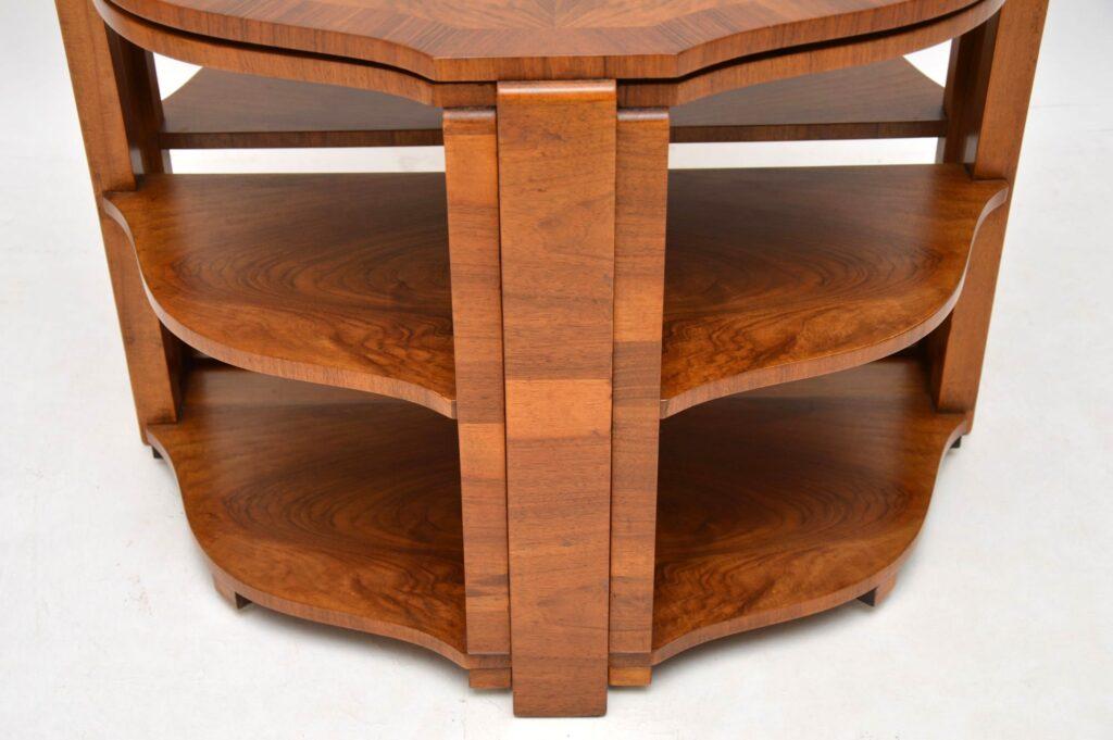 art deco figured walnut nesting coffee table