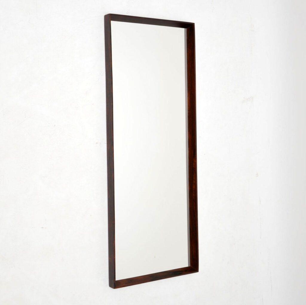 danish retro vintage rosewood mirror