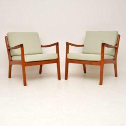 pair of danish retro vintage teak senator armchairs ole wanscher