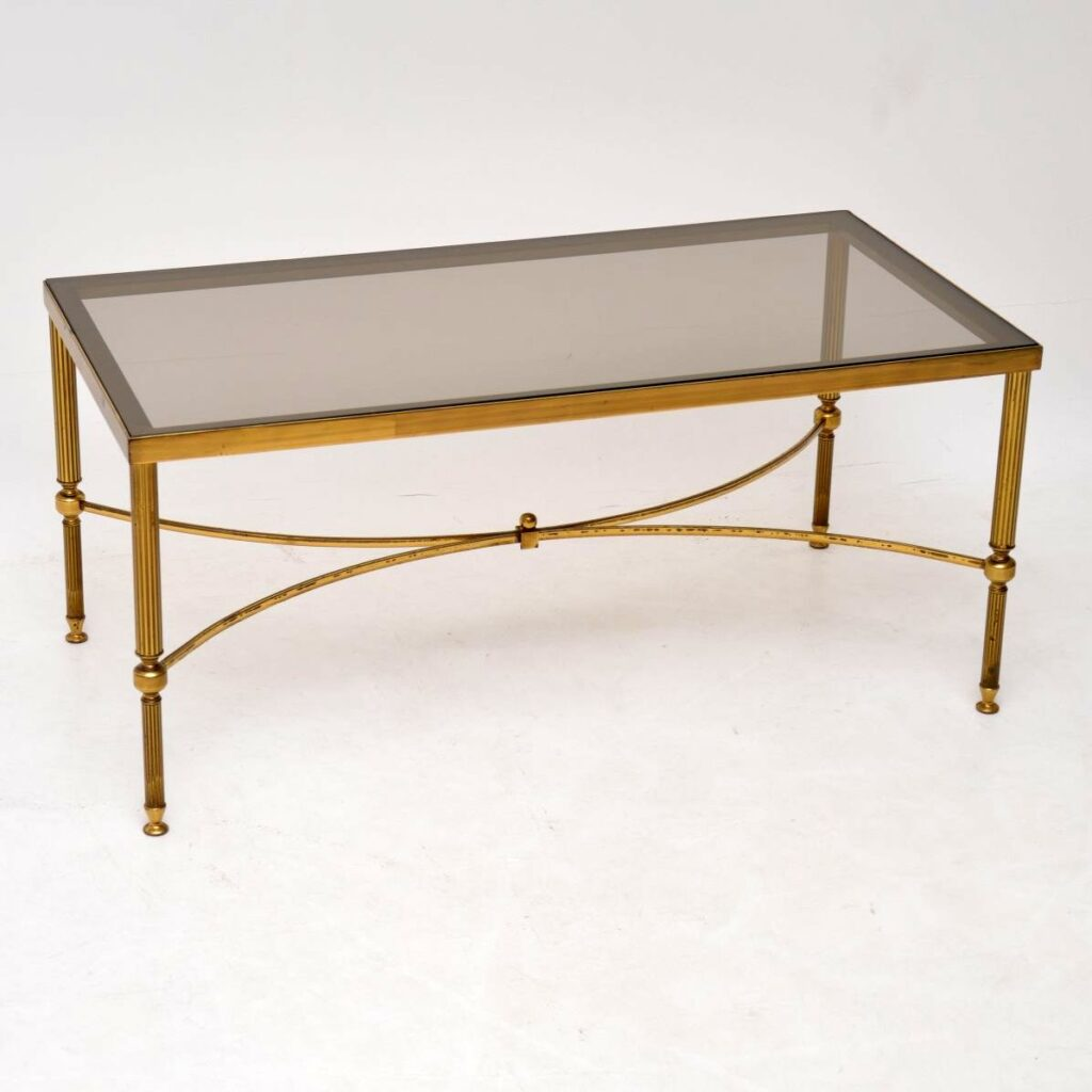 retro vintage french brass glass coffee table