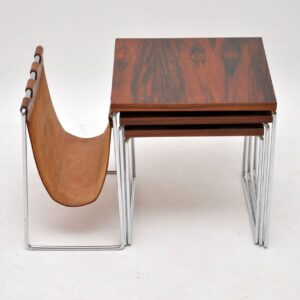 1960's Rosewood , Leather & Chrome Nesting Tables by Brabantus