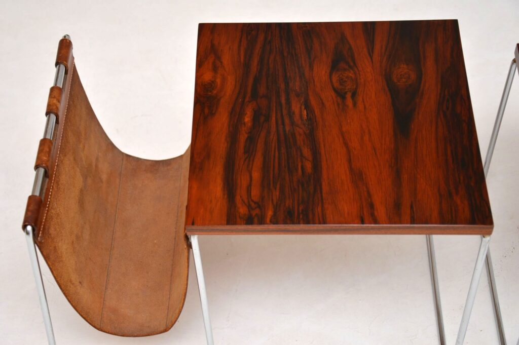 danish rosewood chrome nest of tables brabantus