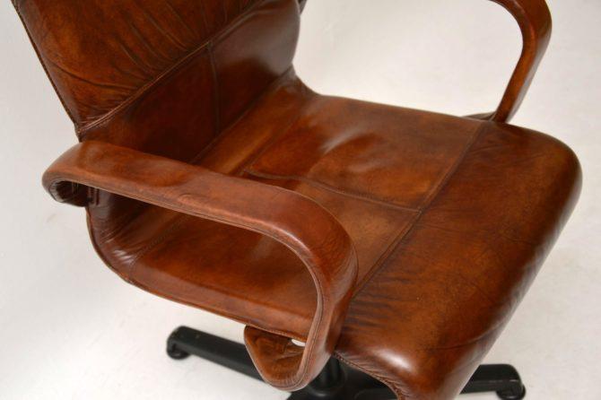 vintage retro leather swivel desk chair